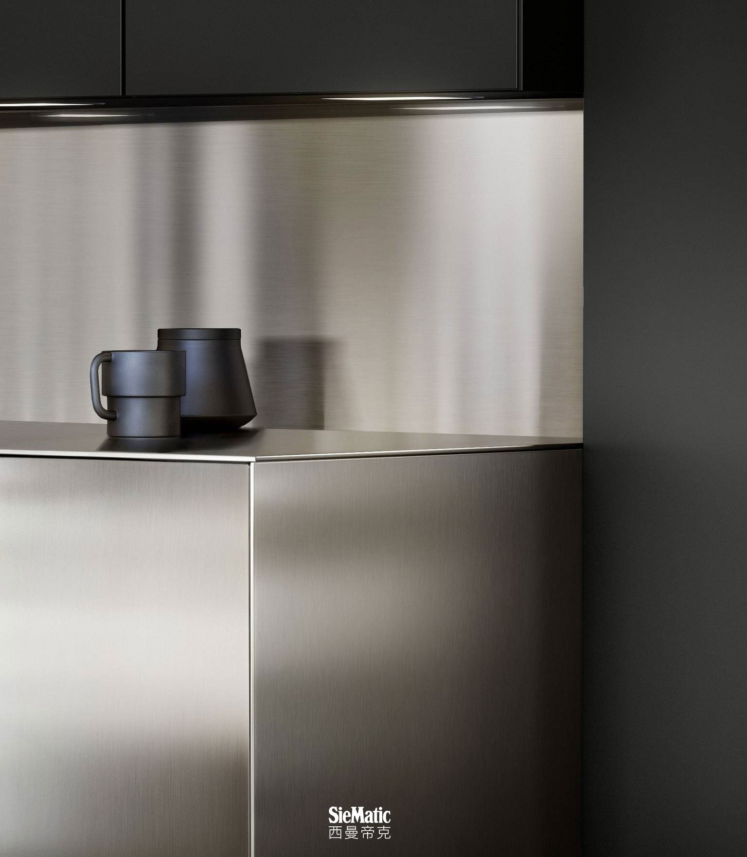 SieMatic countertops, side panels and backsplash in durable, professional stainless steel