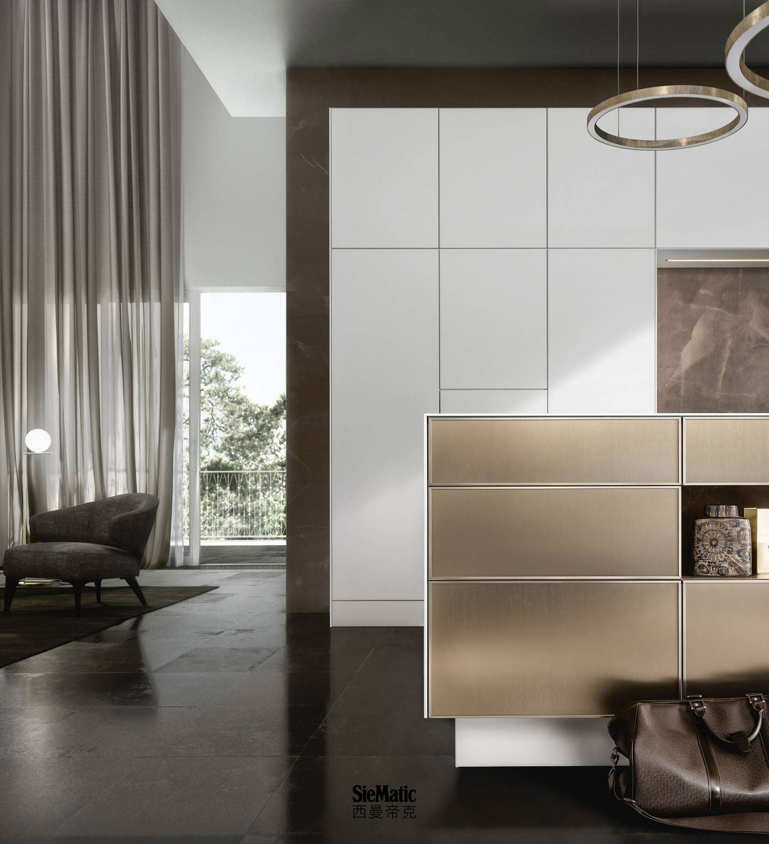 Purist design for a kitchen island in gold bronze metal hue with countertop and side panels in lotus white matte lacquer