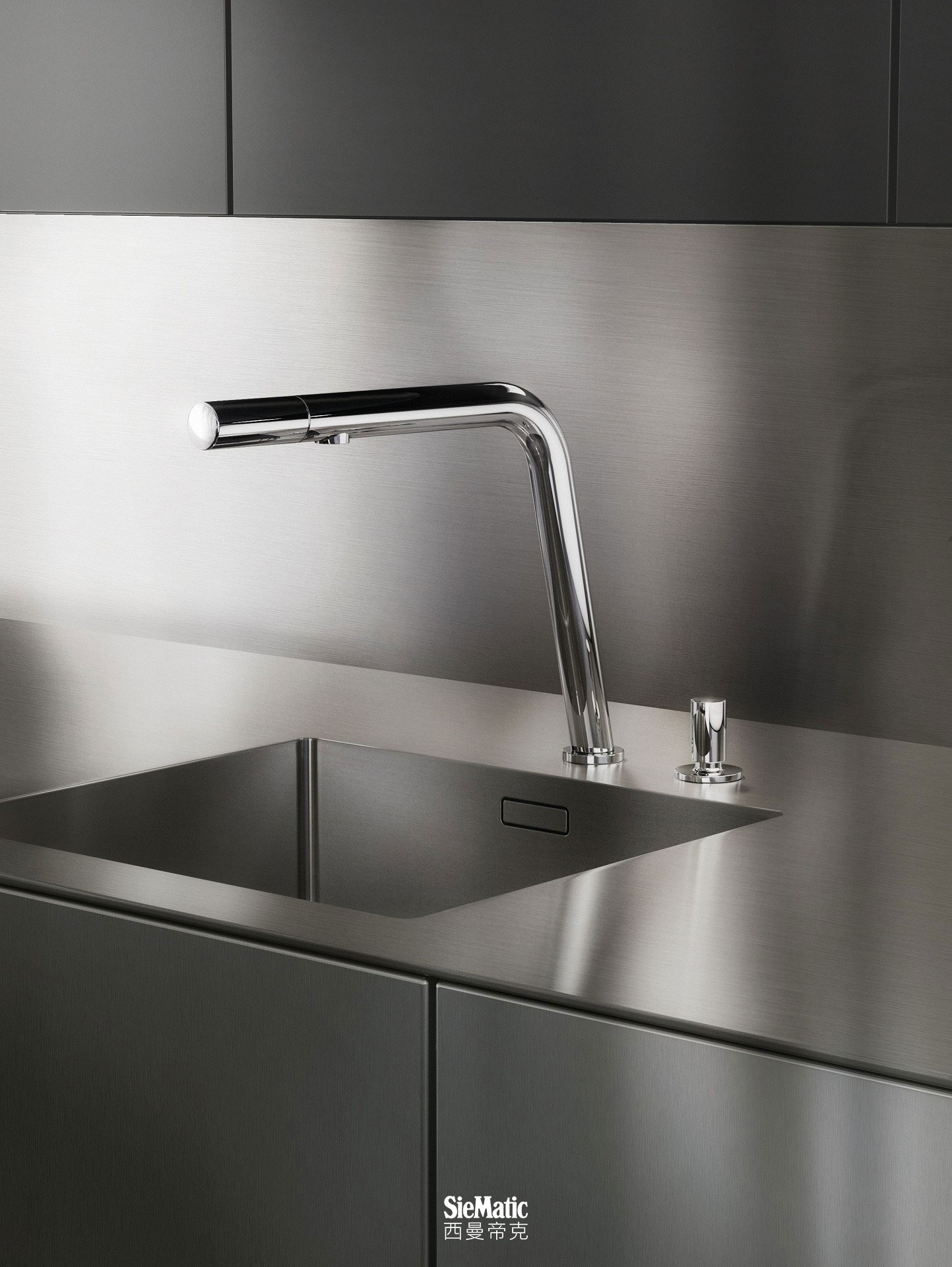 SieMatic kitchen countertops and side panels in professional stainless steel