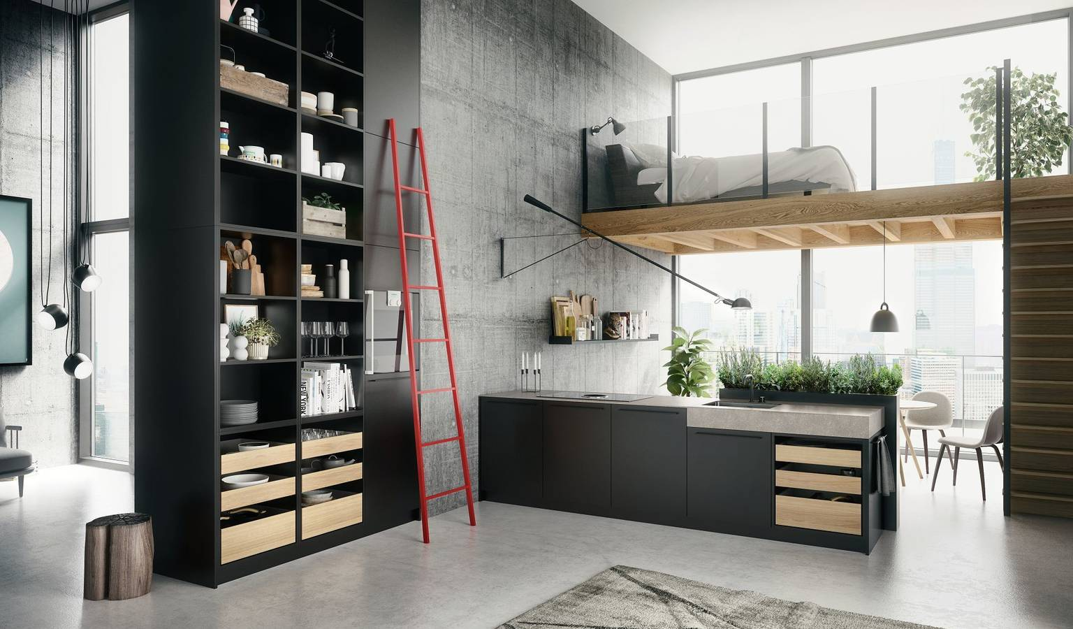 SieMatic Urban SE in graphite grey with ceiling-high shelves, kitchen island and herb garden