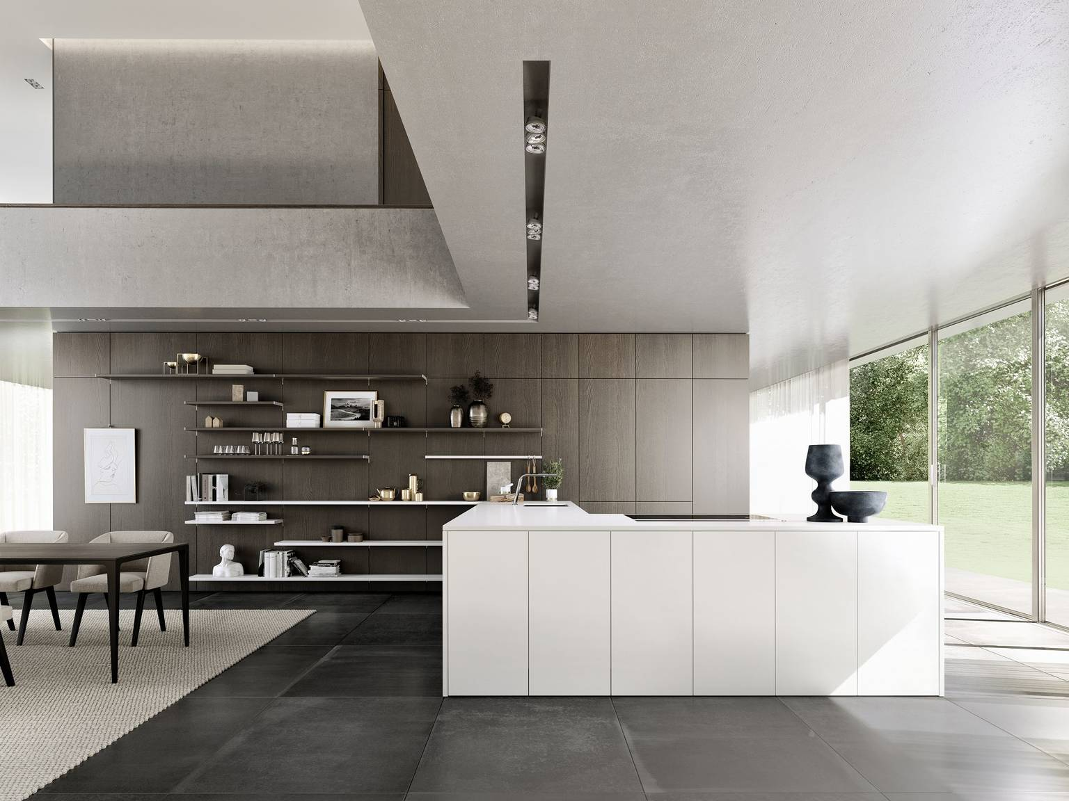 SieMatic Pure SE in lotus white with SieMatic FloatingSpaces panel system